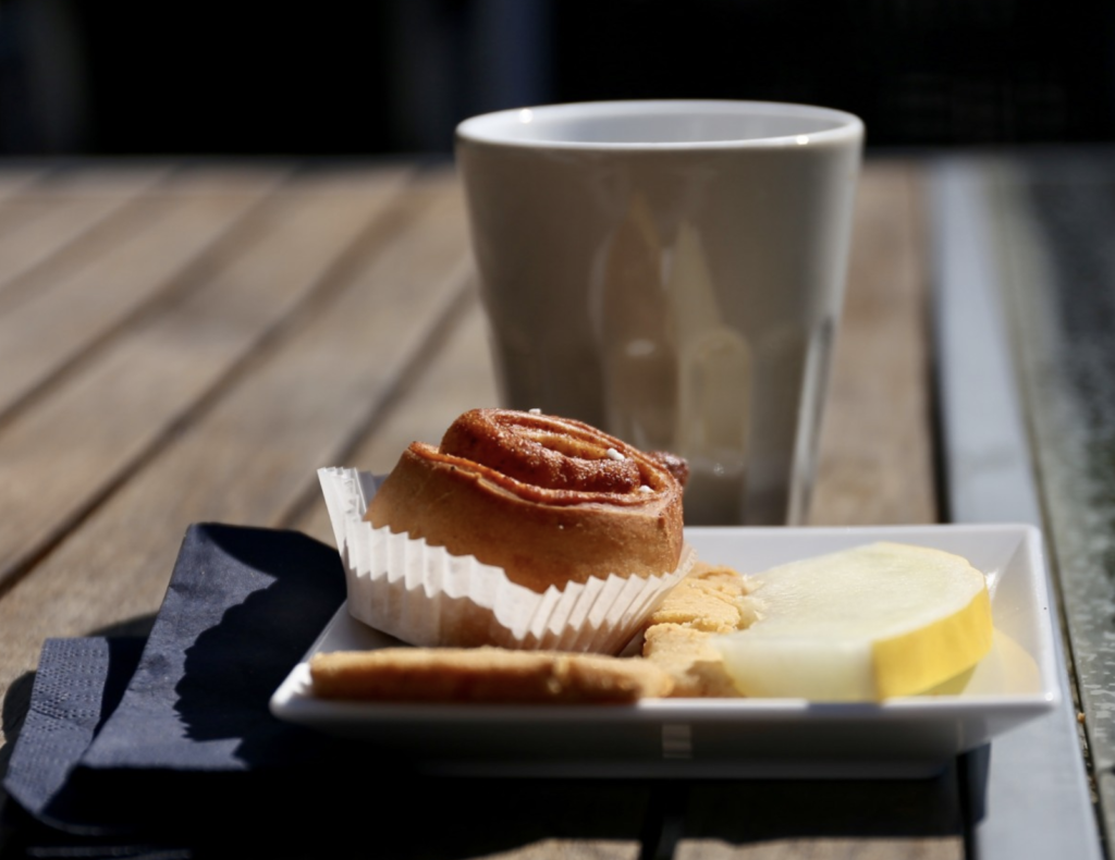 Breakfast pastry and coffee